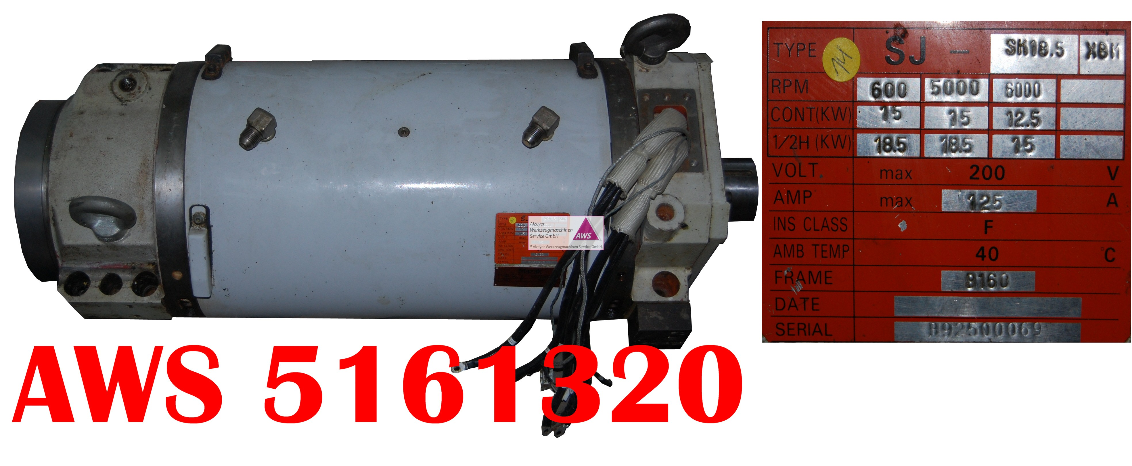 Spindelmotor komplett SJ-SK18.5 XBM SQT15M***