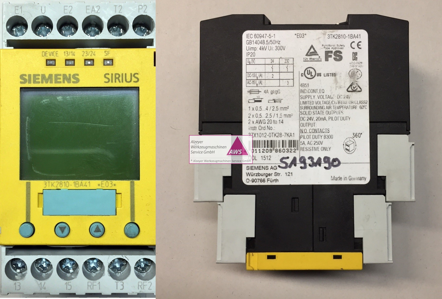 Sicherheitsschaltgerät Siemens Sirius