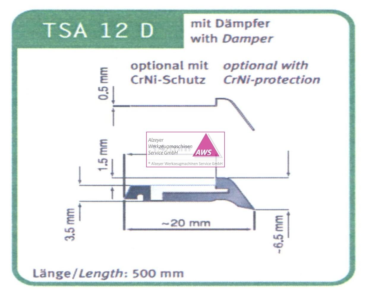 Abstreifgummi TSA - 12 D mit Dämpfer 500mm